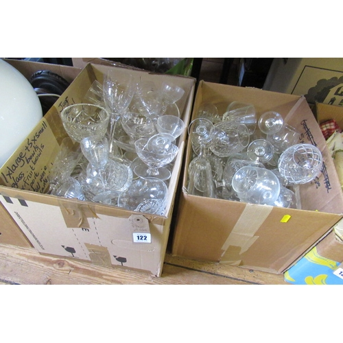 122 - THREE BOXES OF DRINKING GLASSES ETC...