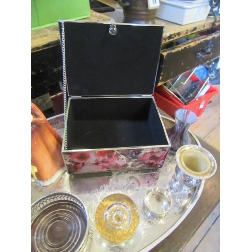 14 - METAL TRAY AND CONTENTS INCLUDING ROYAL DOULTON FIGURE JULIA...