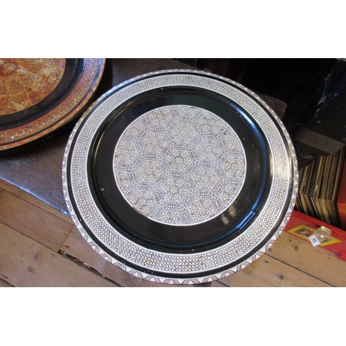 23 - TWO EASTERN INLAID PLATES...