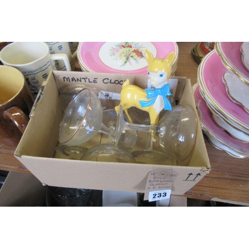 233 - FIVE BABYCHAM GLASSES AND ADVERTISING FIGURE...