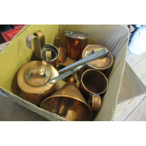276 - BOX OF COPPER ITEMS INCLUDING FUNNELS...