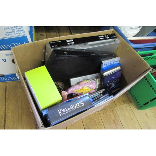 315 - BOX OF MISCELLANEOUS ITEMS INCLUDING DVDS AND DVD PLAYER...