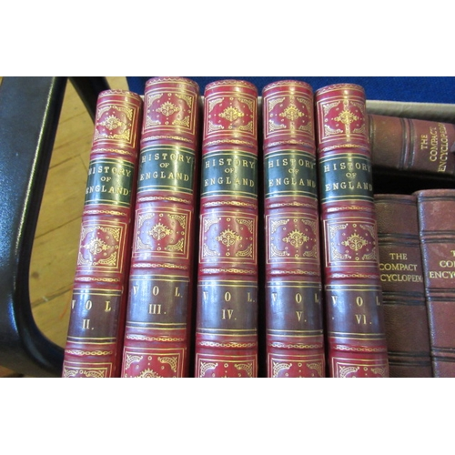 444 - BOX OF LEATHER BOUND BOOKS COMPRISING FIVE VOLUMES ON THE HISTORY OF ENGLAND AND ENCYCLOPAEDIAS...