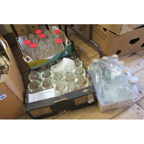 461 - THREE BOXES OF VARIOUS BOTTLES AND GLASS ETC...