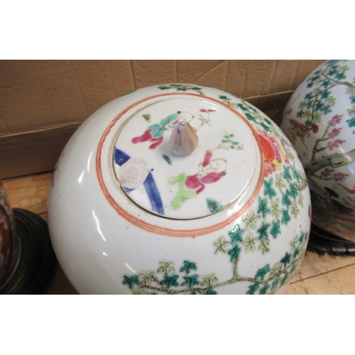 466 - PAIR OF LIDDED CHINESE VASES ON STANDS...