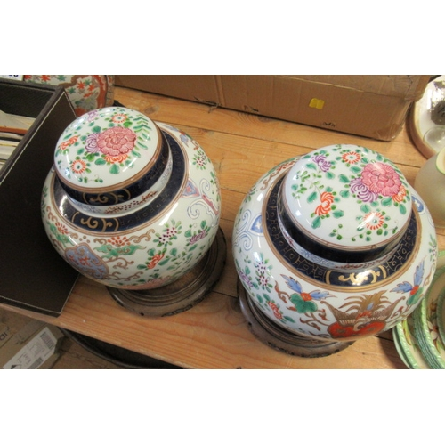 467 - PAIR OF FRENCH LIDDED VASES ON STANDS...