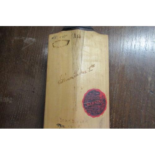 51 - SIGNED CRICKET BAT YORKSHIRE TEAM 1938...