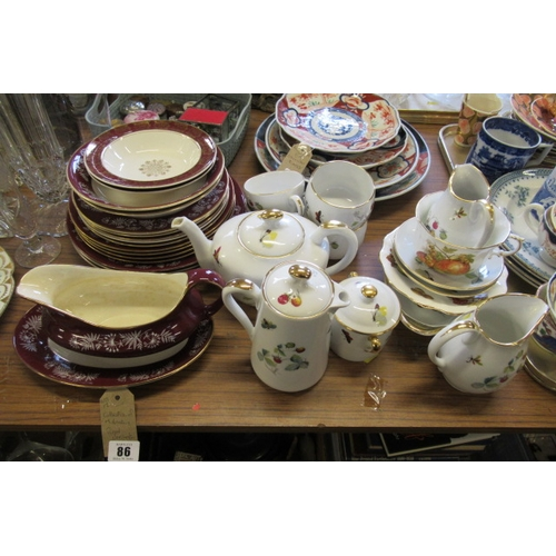 86 - COLLECTION OF MIDWINTER AND ROYAL WORCESTER DINNER/TEA WARE...