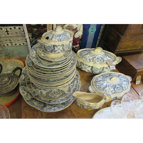364 - QUANTITY OF ARGYLE BLUE AND GILT TABLE WARE...
