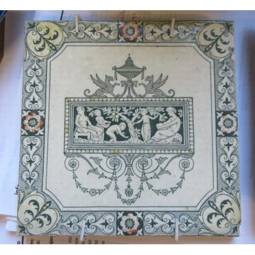 320 - BOX OF VICTORIAN AND OTHER TILES ETC...