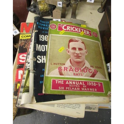 19 - 1950S CRICKET MAGAZINE AND MOTORSHOW MAGAZINES WITH RECORDS