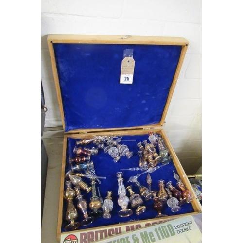 25 - BOX OF BOHEMIAN GLASS PERFUME BOTTLES