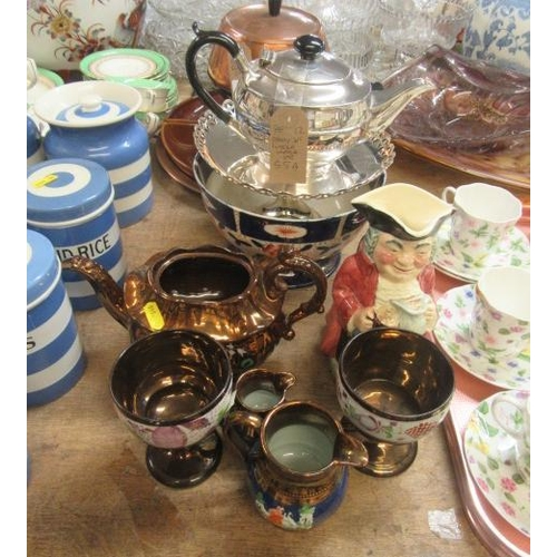 55A - PLATED TEA POT,  CAKE STAND AND LUSTRE WARE