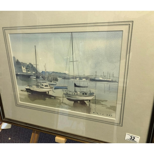 32 - Boats in Marina by Eric day watercolour 23