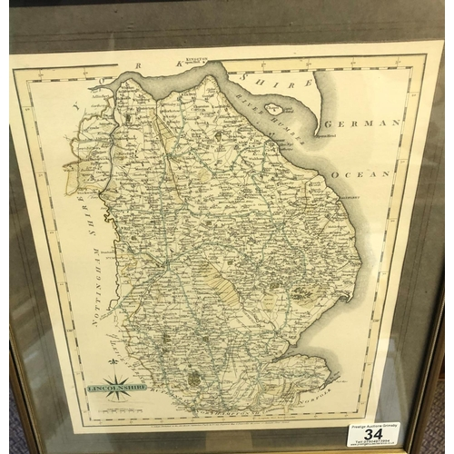 34 - Framed lincolnshire map John cary 12