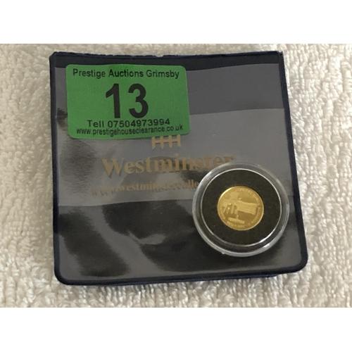 13 - 1 sertum 22ct gold coin mint...