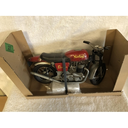 27 - Norton replica collectors metal motorbike...