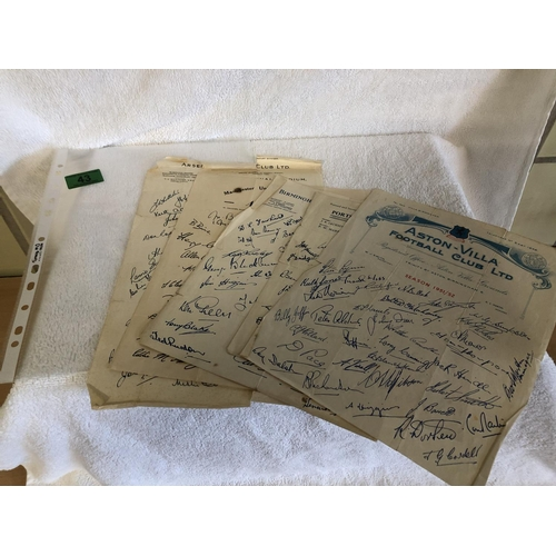 43 - Folder of old autograph sheets from arsenal, manchester united, portsmouth, birmingham, aston villa ...
