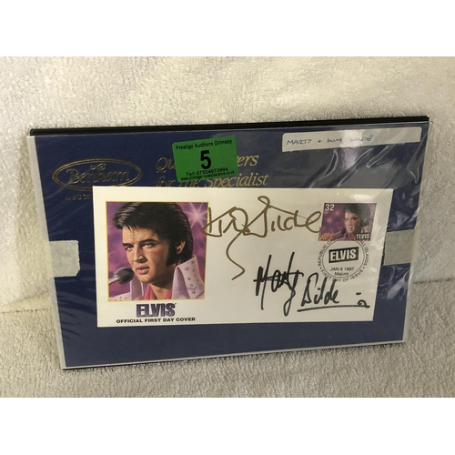 5 - Elvis 1st day cover hand signed by Marty and Kim wilde...
