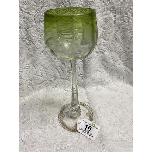 10 - MOSER ART NOUVEAUX HAND CUT HOCK GLASS IRIS DESIGN THE CLEAR CRYSTAL GLASS HAS AN INNER CASING OF GR...