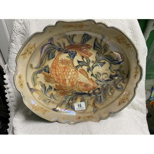 16 - JCJ LARGE LUSTRE BOWL WITH CARP SWIMMING THROUGH WEEDS COMMISSIONED ONE OFF PIECE 13