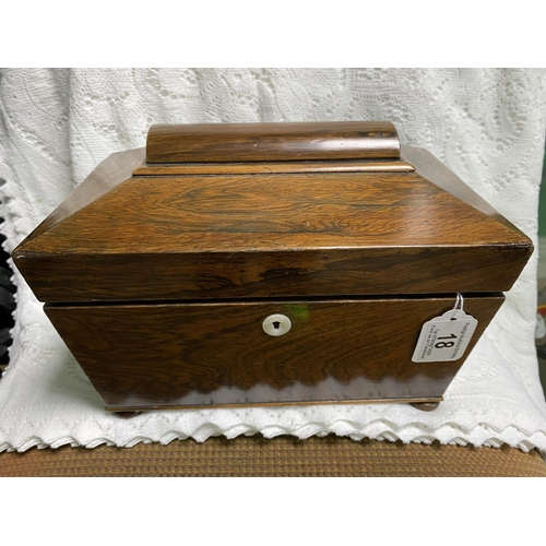 18 - STUNNING WOODEN TEA CADDY NO KEY...