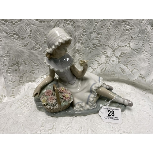 28 - LLADRO GIRL WITH POSY BASKET 7