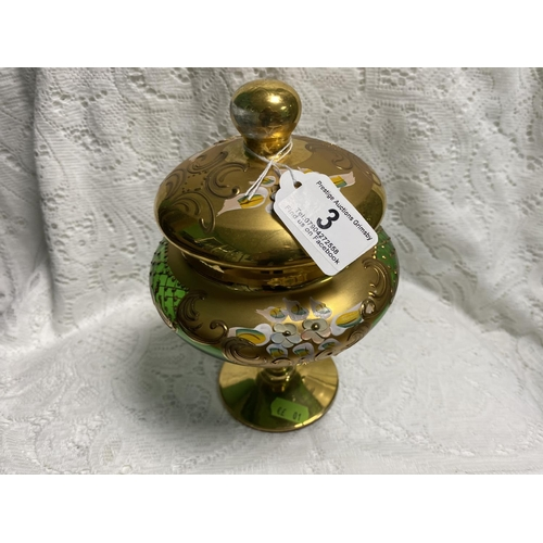 3 - VINTAGE DECORATED GLASS URN APPROX 8