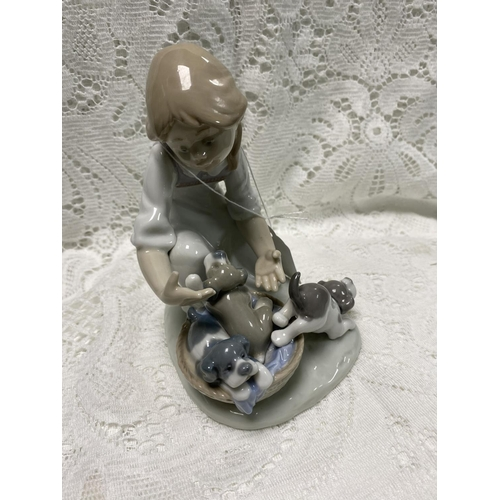 33 - LLADRO GIRL WITH PUPPIES 6