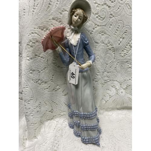 40 - LLADRO LADY FIGURINE WITH PINK PARASOL 13