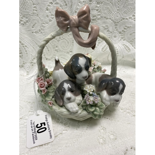 50 - LLADRO PUPPIES IN A BASKET 6