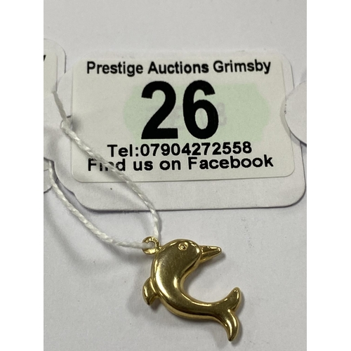 26 - 9CT GOLD DOLPHIN CHARM/PENDANT 0.6G...