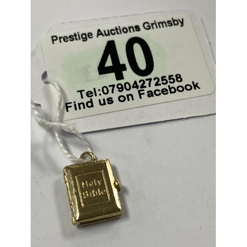 40 - 9CT GOLD HOLY BIBLE CHARM/PENDANT OPENS UP & ALL THE PAGES ARE GOLD 4.2G...