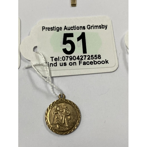51 - VINTAGE 9CT GOLD ST CHRISTOPHER 2G...