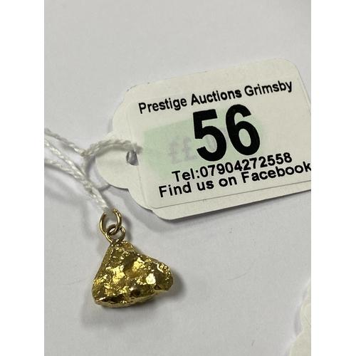 56 - FINE GOLD NUGGET PENDANT 6G...