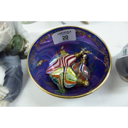 20 - Devon Lustre small bowl with three scent bottles...
