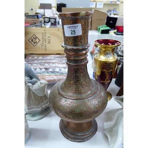 25 - Copper Middle Eastern bottle vase - ht. 13 ins....