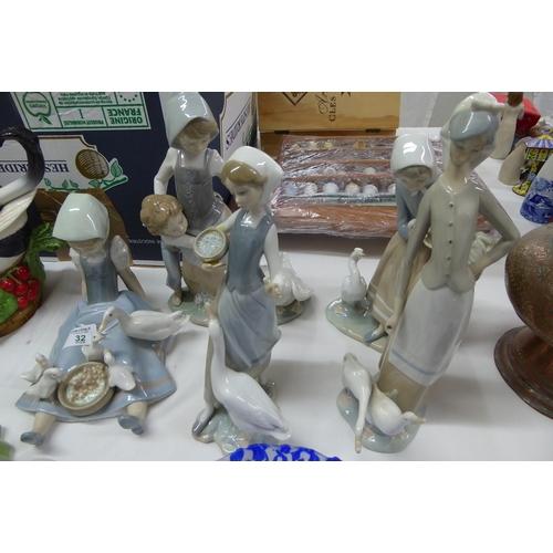 32 - Five Lladro girls with duck figures