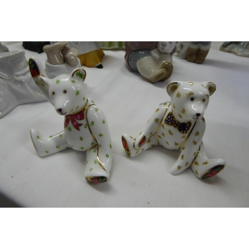 34 - Two Royal Crown Derby teddy bears seated