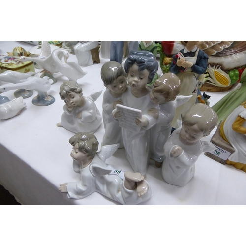 35 - Four Lladro Angel figures...