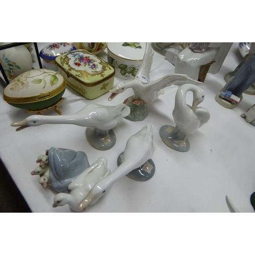 38 - Five Lladro duck ornaments...