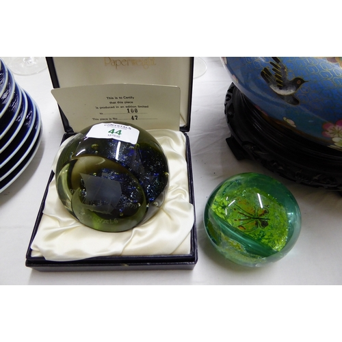 44 - A limited edition Caithness Tynwald paperweight plus one...