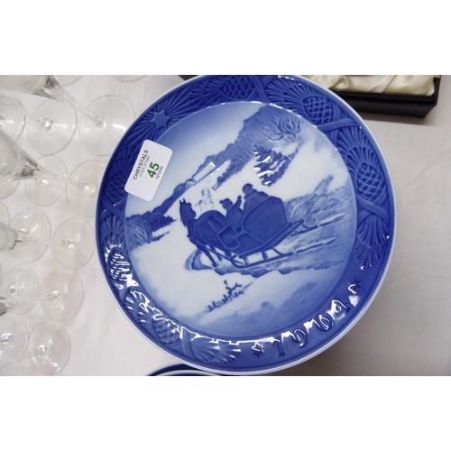 45 - Ten Royal Copenhagen Christmas plates 1964 to 1973...