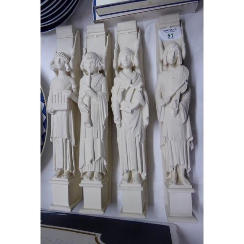 51 - Four terracotta musician figures - length 13 ins....