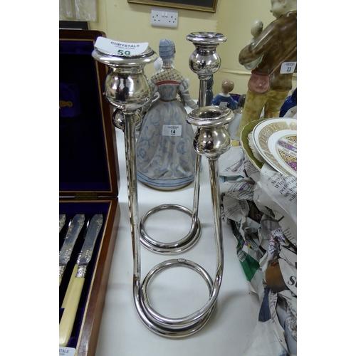 59 - Sterling silver twin branch candelabra...