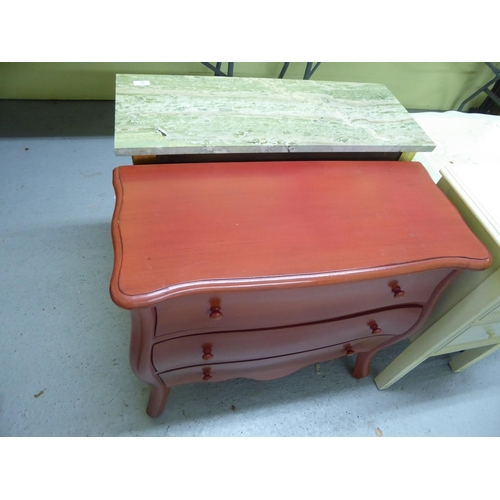 52 - Marble top hall table plus a three drawer cabinet
