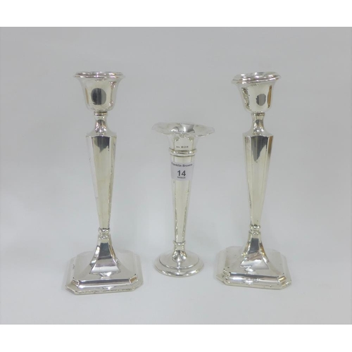 14 - George V pair of silver candlesticks, Chester 1915 (weighted - one a/f)  together with an Edwardian ...