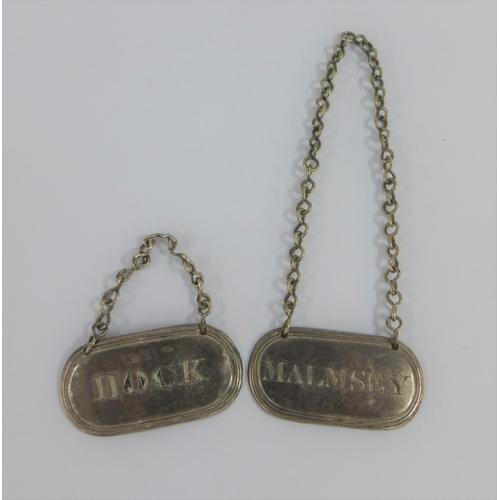 18 - Malmsey & Hock white metal decanter labels, 4.5cm (2)...