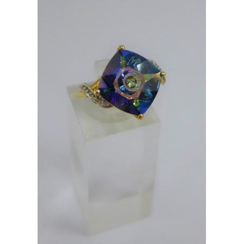 19 - 9 carat gold topaz and diamond dress ring, UK ring size Q...