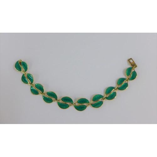 22 - David Andersen Norwegian silver gilt and green enamel leaf bracelet, stamped with makers mark & 925S...